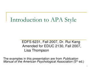 Introduction to APA Style