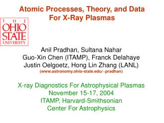 Atomic Processes, Theory, and Data For X-Ray Plasmas