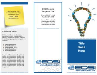 EDSI Sample  Program Title Phone 313.271.2660 Fax 313.271.2698 Sample Address Line 1