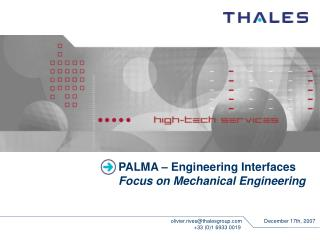 PALMA – Engineering Interfaces Focus on Mechanical Engineering