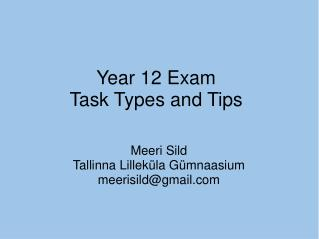 Year 12 Exam Task Types and Tips