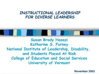 INSTRUCTIONAL LEADERSHIP  FOR DIVERSE LEARNERS