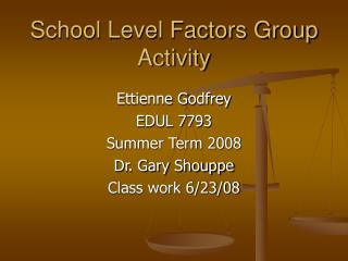School Level Factors Group Activity