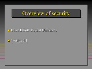 Overview of security