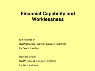 Financial Capability and Worklessness