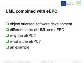 UML combined with eEPC object oriented software development different tasks of UML and eEPC