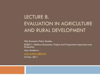 Lecture 8. evaluation in agriculture and rural development