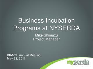 Business Incubation Programs at NYSERDA