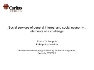Social services of general interest and social economy : elements of a challenge