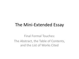 The Mini-Extended Essay