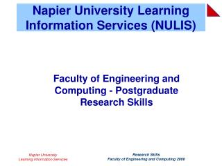 Napier University Learning Information Services (NULIS)