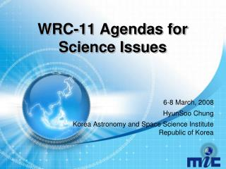 WRC-11 Agendas for Science Issues