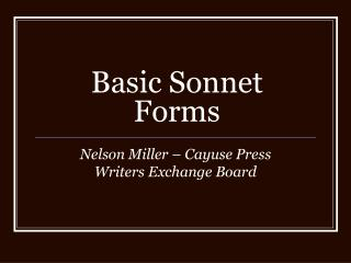 Basic Sonnet Forms