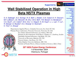 Wall Stabilized Operation in High Beta NSTX Plasmas