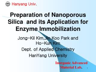 Preparation of Nanoporous Silica  and its Application for Enzyme Immobilization