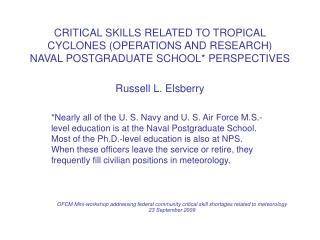 CRITICAL SKILLS RELATED TO TROPICAL CYCLONES (OPERATIONS AND RESEARCH)  NAVAL POSTGRADUATE SCHOOL* PERSPECTIVES