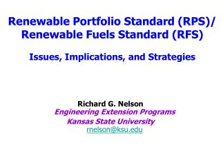 Richard G. Nelson Engineering Extension Programs  Kansas State University rnelson@ksu