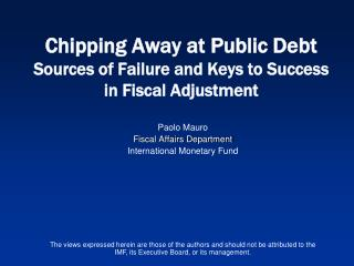 Paolo Mauro Fiscal Affairs Department  International Monetary Fund