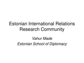 Estonian International Relations Research Community