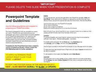 Powerpoint Template  and Guidelines