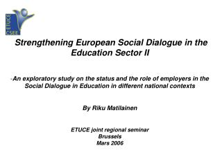 Strengthening European Social Dialogue in the Education Sector II