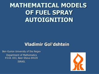 MATHEMATICAL MODELS  OF FUEL SPRAY AUTOIGNITION