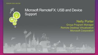 Microsoft  RemoteFX : USB and Device Support