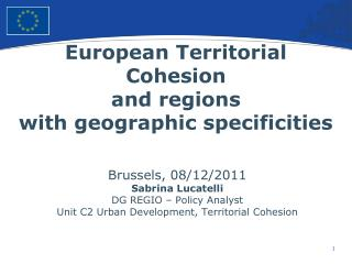 European Territorial Cohesion and regions with geographic specificities