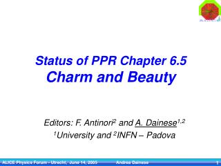 Status of PPR Chapter 6.5 Charm and Beauty