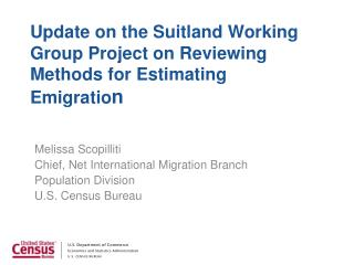 Update on the Suitland Working Group Project on Reviewing Methods for Estimating Emigratio n