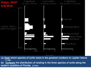 State  which species of turtle nests in the greatest numbers on Jupiter Island.   		(1  mk )