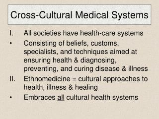 Cross-Cultural Medical Systems
