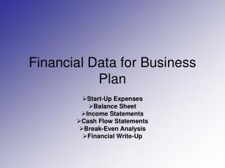 Financial Data for Business Plan