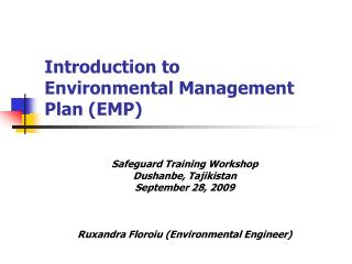 Introduction to  Environmental Management Plan (EMP)