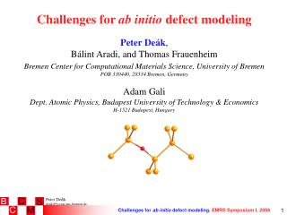 Challenges for  ab initio  defect modeling