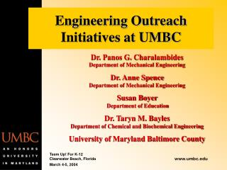 Engineering Outreach Initiatives at UMBC