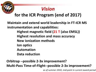 Vision for the ICR Program (end of 2017)