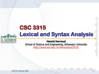 CSC 3315 Lexical and Syntax Analysis