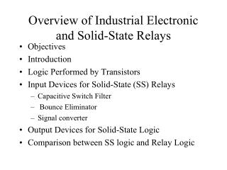 Overview of Industrial Electronic and Solid-State Relays