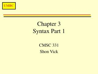 Chapter 3 Syntax Part 1