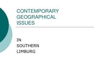 CONTEMPORARY  GEOGRAPHICAL ISSUES
