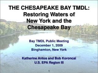 THE CHESAPEAKE BAY TMDL: Restoring Waters of  New York and the  Chesapeake Bay