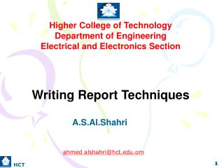 Higher College of Technology Department of Engineering Electrical and Electronics Section
