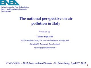 The national perspective on air pollution in  Italy