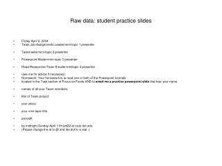 Raw data: student practice slides