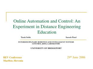 Online Automation and Control: An Experiment in Distance Engineering Education