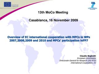 13th MoCo Meeting  Casablanca, 16 November 2009