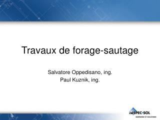 Travaux de forage-sautage