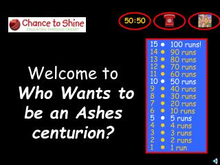 Welcome to Who Wants to be an Ashes centurion?