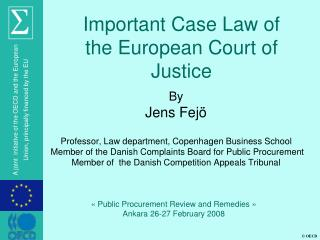 Important Case Law of the European Court of Justice
